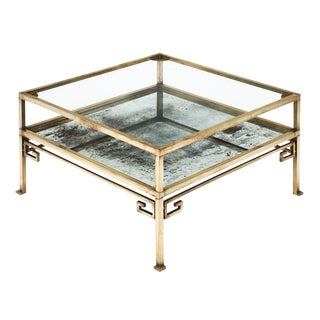 French Art Deco Brass Coffee Table For Sale
