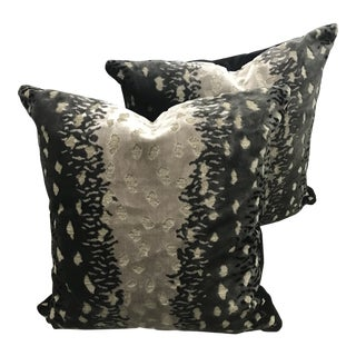 Abstract Velvet Leopard Print Pillows - a Pair For Sale