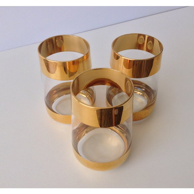 Italian 24k Gold Banded Glasses - Set of 3 - Image 8 of 8
