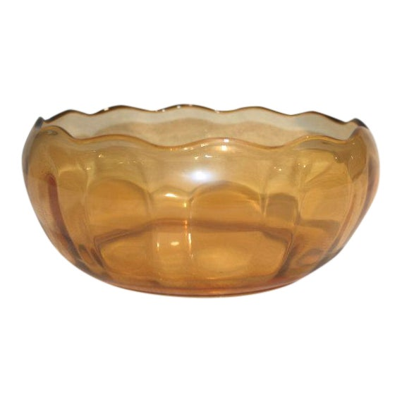 Retro Amber Glass Serving Bowl - Image 1 of 4