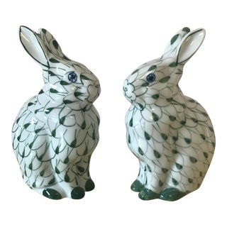 Fishnet-Style Rabbit Figurines - a Pair For Sale