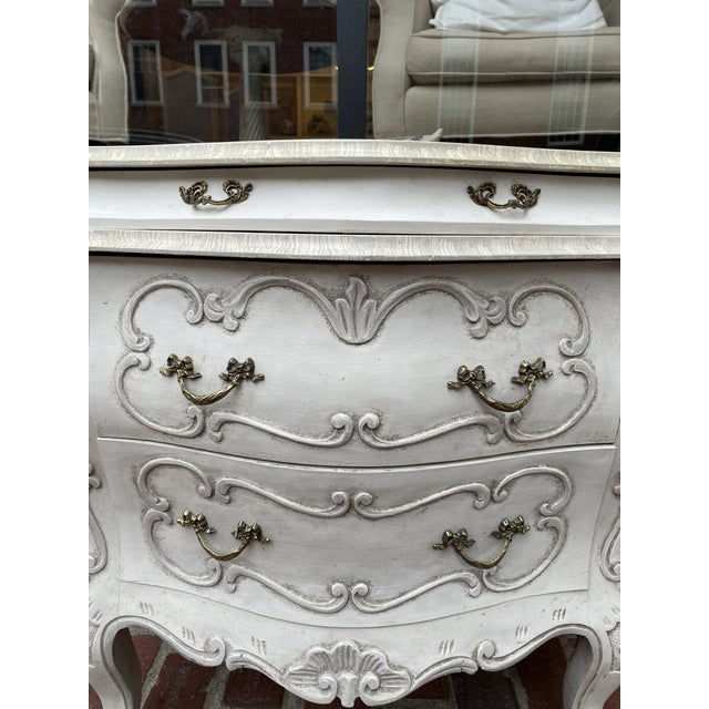 Traditional Vintage White Pine Bombay Chest of Drawers - a Pair For Sale - Image 3 of 8