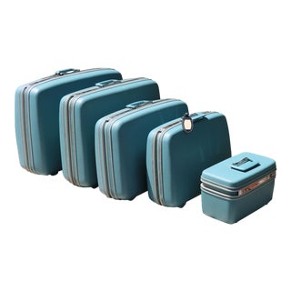 Vintage Sky Blue Luggage - Set of 5 For Sale