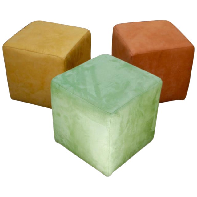 German Himolla Cube Ottomans - Set of 3 For Sale