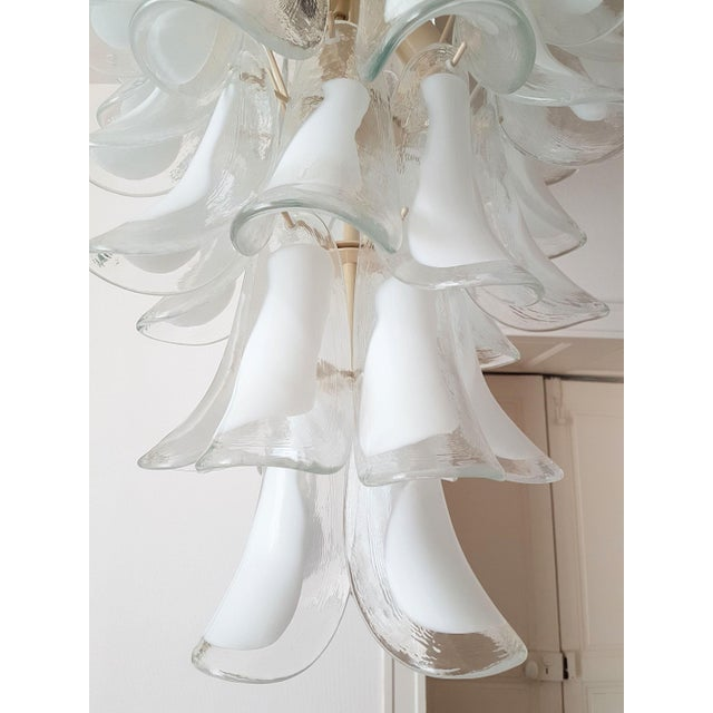 Glass White Mid Century Modern Murano Glass Chandelier, by Mazzega, 1970s- 2 Available For Sale - Image 7 of 10