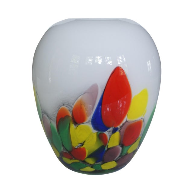 Vintage White & Confetti Pattern Murano Glass Vase For Sale