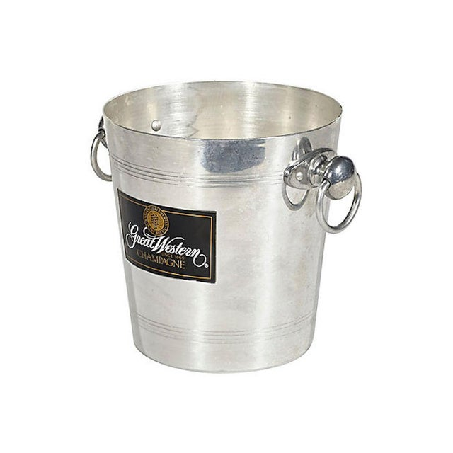 "1970s French aluminum ice bucket with handles from Great Western Champagne. Marked ""Made in France."""