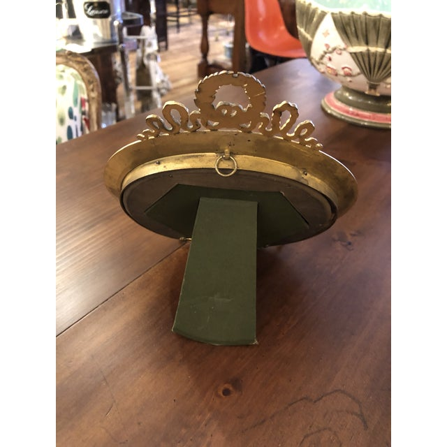 French Empire Antique Patinated Bronze Round Picture Frame For Sale - Image 9 of 10
