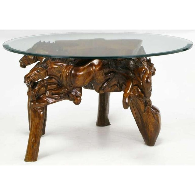 Incredible Equine Carved Wood Coffee Table - Image 5 of 9