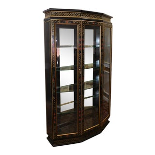 Black Lacquered Asian Inspired Dining Room Display China Cabinet c1980s