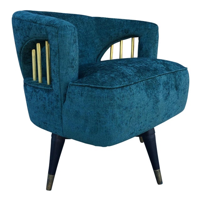 Mid-Century Green Velvet Brass Swivel Chair - Image 1 of 5