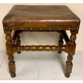 19th-C. English Carved Walnut Bobbin Ottoman Preview