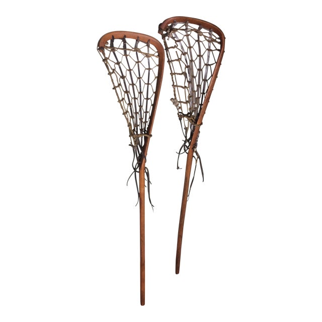 One Vintage Wood and Leather Lacrosse Stick - *** Only One Left**** For Sale