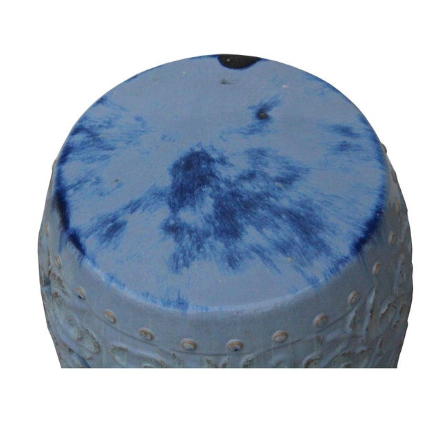 Ceramic Clay Light Blue Glaze Round Scroll Pattern Garden Stool For Sale In San Francisco - Image 6 of 9