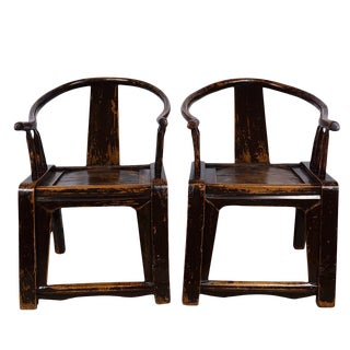 Antique Chinese Yoke Armed Horseshoe Chairs - a Pair For Sale
