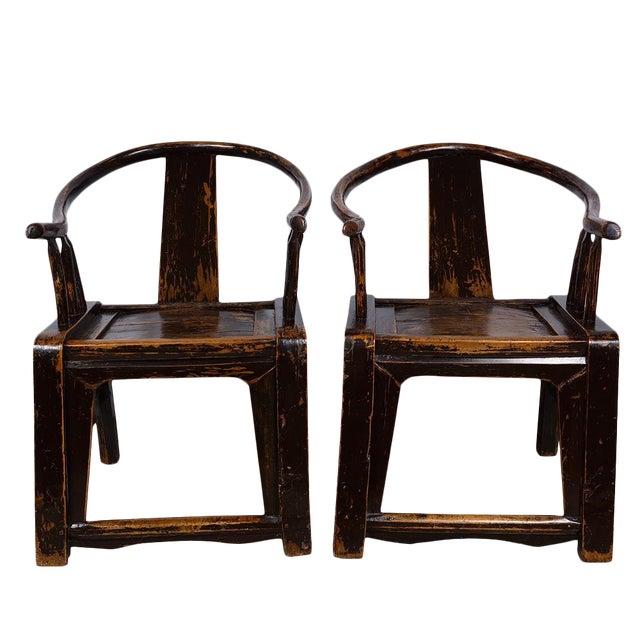 Antique Chinese Yoke Armed Horseshoe Chairs - a Pair - Antique Chinese Yoke Armed Horseshoe Chairs - A Pair Chairish