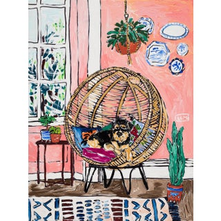 Dog in Rattan Nest Chair Pink Interior With House Plants Painting For Sale