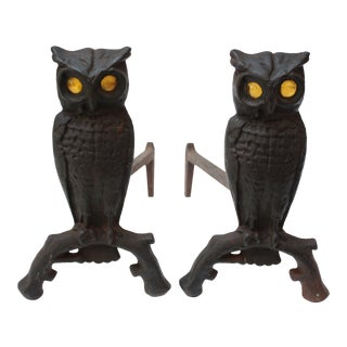Vintage Cast Iron Owl Andirons with Amber Glass Eyes - A Pair