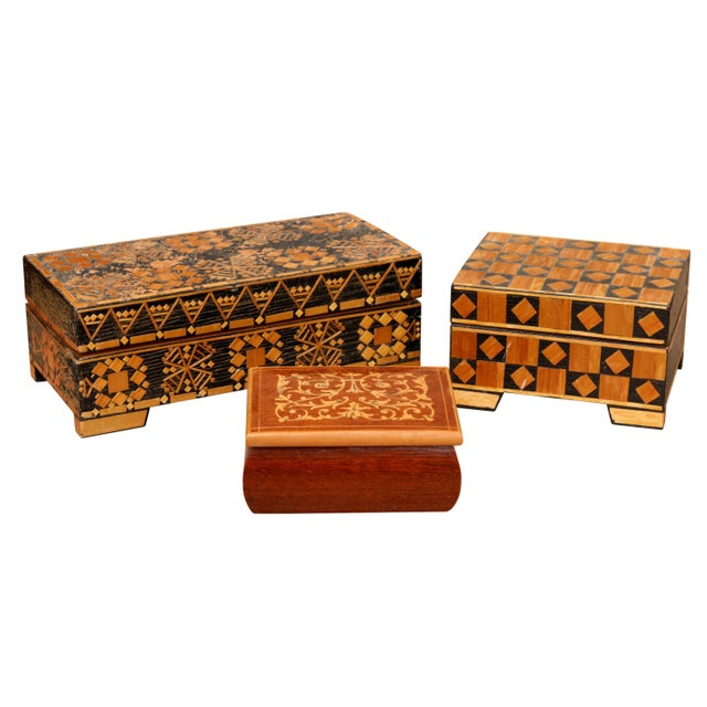 Bohemian Inlaid Trinket Boxes, Set of 3 For Sale - Image 9 of 9
