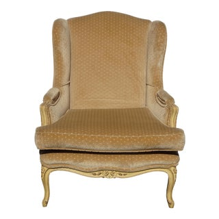 Vintage French Provincial Gold Polka Dotted Velvet Accent Wingback Chair For Sale