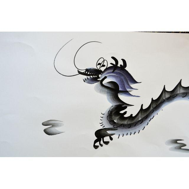 Contemporary Chinese Calligraphy Dragon Signed Black on White For Sale In Los Angeles - Image 6 of 7