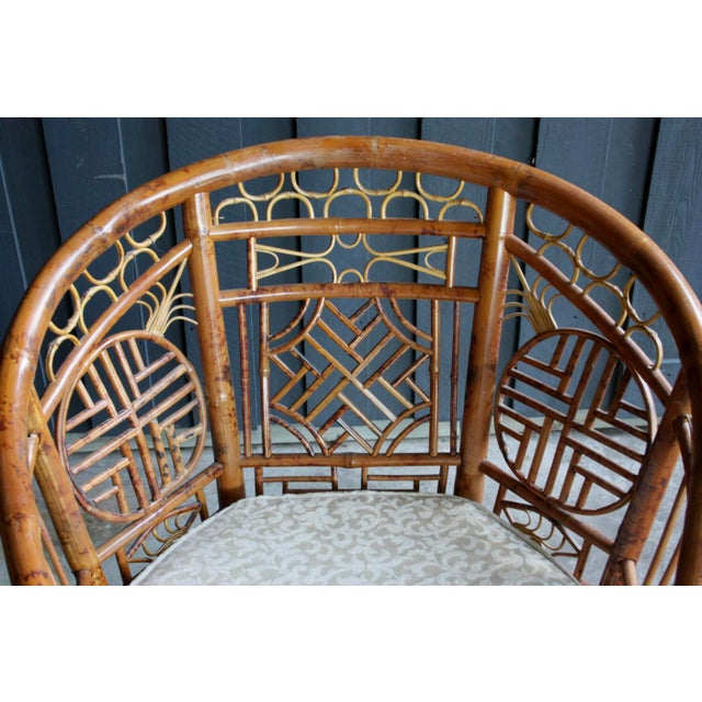 Pair of Brighton Pavillion Bamboo Chairs With Table, Set of 3 For Sale - Image 11 of 13