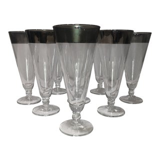 Mid Century Dorothy Thorpe Style Platinum Rimmed Glasses - Set of Eight For Sale