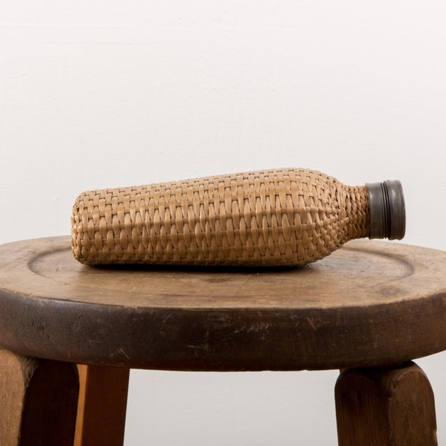 1920 European Wicker Woven Covered Glass Bottle For Sale - Image 4 of 7