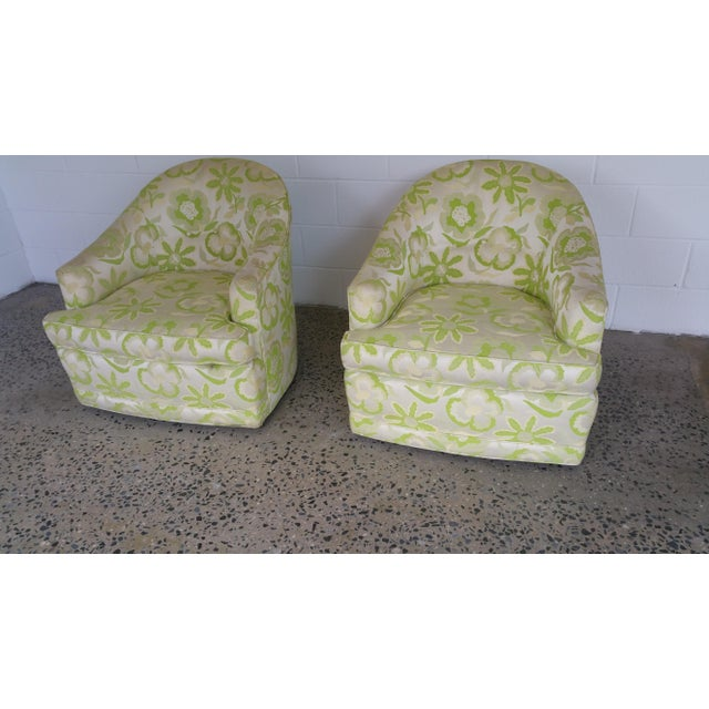 Mid-Century Modern 1970's Swivel Barrel Chairs- A Pair For Sale - Image 3 of 6