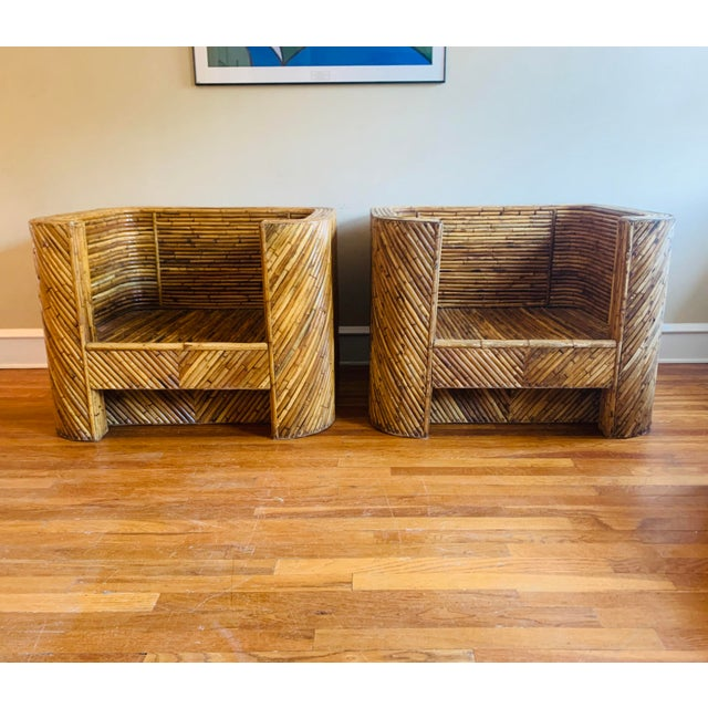 Vintage Bamboo Club Chairs - a Pair For Sale - Image 10 of 10