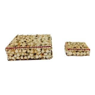 Antique Folk Art Seashell Boxes - A Pair