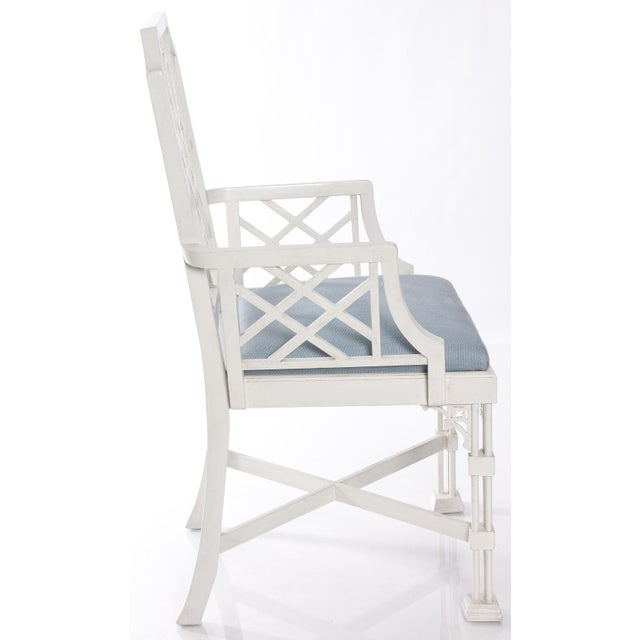 White Painted Chinese Chippendale Style Fretwork Armchairs - A Pair - Image 5 of 8