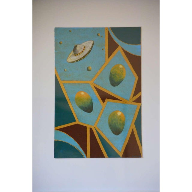 Surrealism Pair of Whimsical Surrealist Oil on Panel Paintings in Shadow Boxes For Sale - Image 3 of 8
