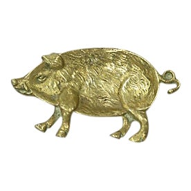 19th-C. English Brass Pig Coin Dish For Sale