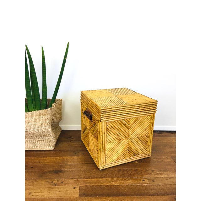 Tan Vintage Natural Pencil Reed Rattan Gabriella Crespi Style Trunk Chest Table For Sale - Image 8 of 9