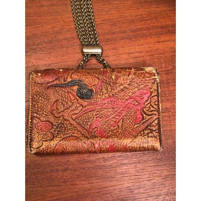 Late 19th Century Elaborate Meiji Period Embossed Leather and Silver Tobacco Pouch For Sale - Image 9 of 13