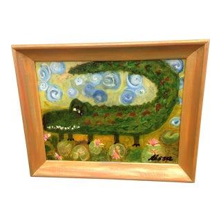 Folk Art Alligator Original Painting For Sale