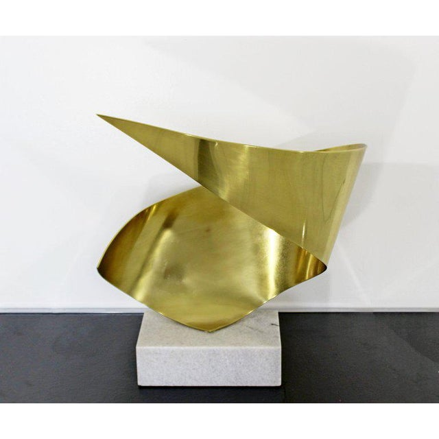Late 20th Century Mid-Century Modern Bronze Ribbon Marble Table Sculpture Signed James Nani 1978 For Sale - Image 5 of 13