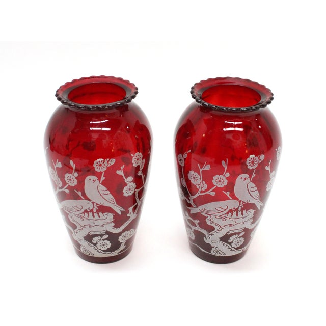 Vintage Etched Cranberry Red Glass Vases - A Pair - Image 2 of 5