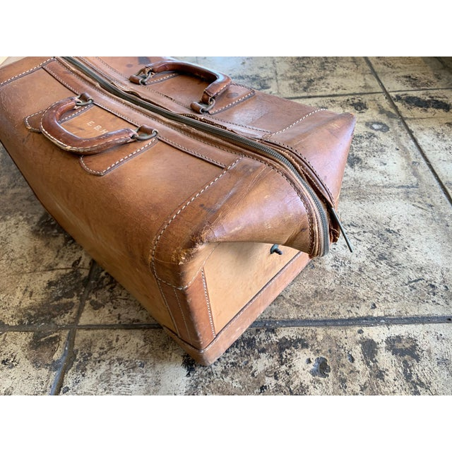 Vintage Leather Luggage Bag For Sale In Los Angeles - Image 6 of 11
