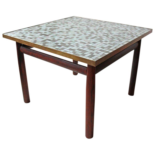 Edward Wormley Rosewood Occasional Table for Dunbar with Murano Glass Tile Top For Sale