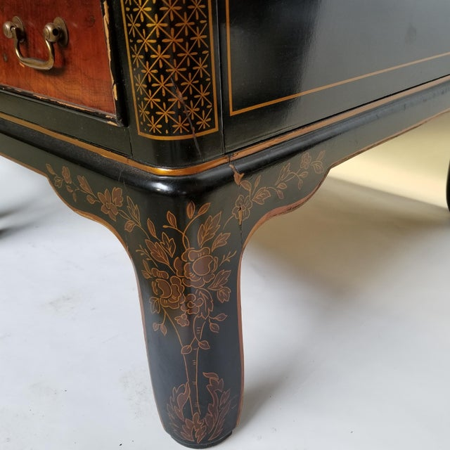 Drexel Et Cetera Chinoiserie Black Lacquer Burlwood Side Tables - a Pair For Sale - Image 9 of 11