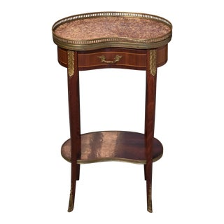 1930s French Traditional Marble Top Side Table For Sale
