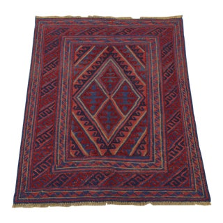 "Vintage Tribal Turkish Kilim Rug - 3'6"" x 4'2"""