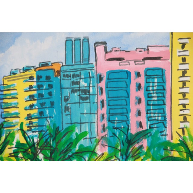 Abstract Miami Beach Landscape Art Deco City Painting by Cleo For Sale - Image 3 of 3