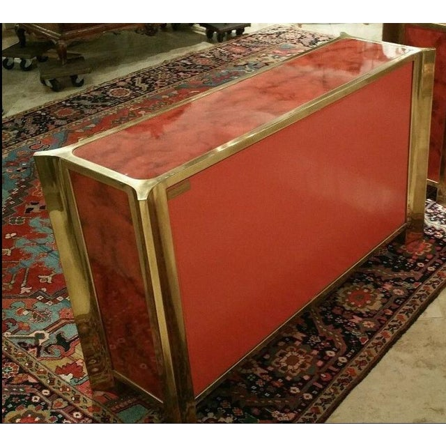 Mastercraft Chinoiserie Style Faux Tortoise Commode With Red Lacquer Interior For Sale In Miami - Image 6 of 9