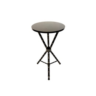 Antique Faux Bamboo Tripod Table || Black & Gold Chinoiserie Chic Circular Tripod Fern Stand | Hollywood Regency Accent Table For Sale
