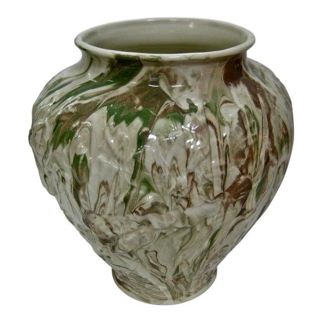 1979 Art Nouveau Mottled Glazed Ceramic Vase For Sale