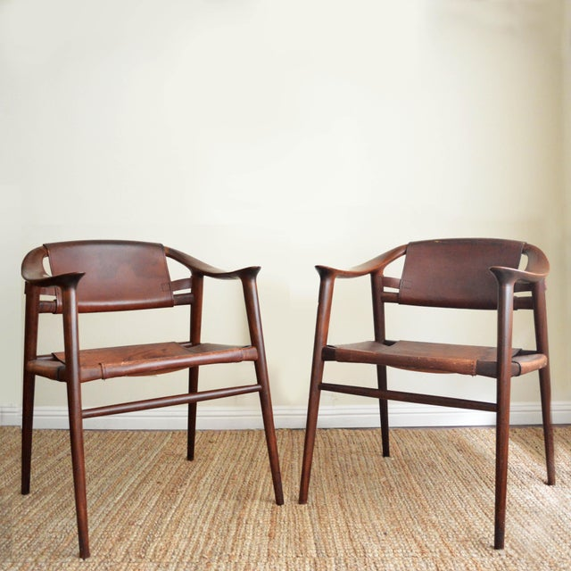 Vintage Rolf Rastad & Adolf Relling for Gustav Bahus Leather Bambi Chairs- a Pair For Sale - Image 9 of 9
