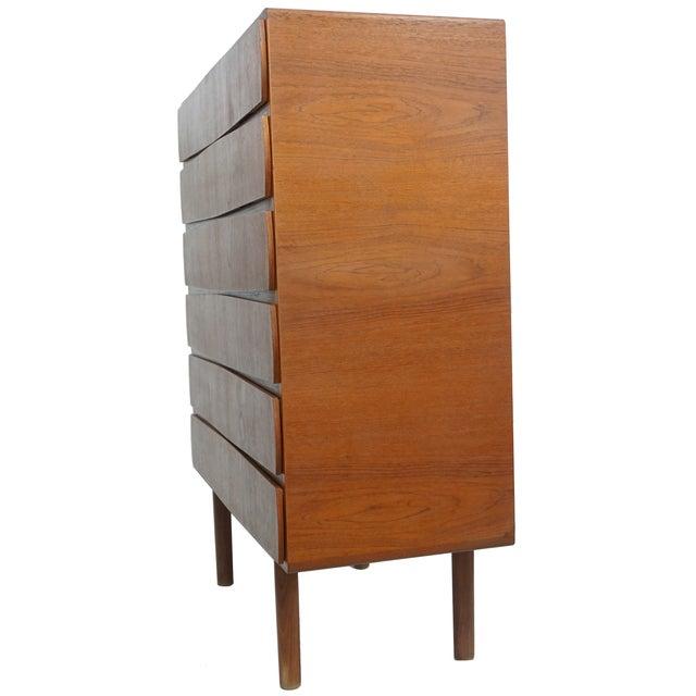 1950s Vintage Danish Teak Tallboy Dresser - Image 3 of 8